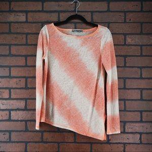 PRANA Striped Asymmetrical Long Sleeve Shirt Small